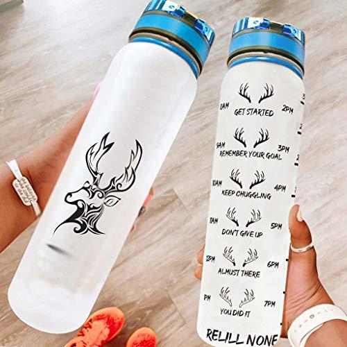 Hothotvery Botella deportiva con estampado étnico de alce y ciervo, marca de esperanza, sin BPA, 1 L, sostenible, para gimnasio, color blanco, 1000 ml