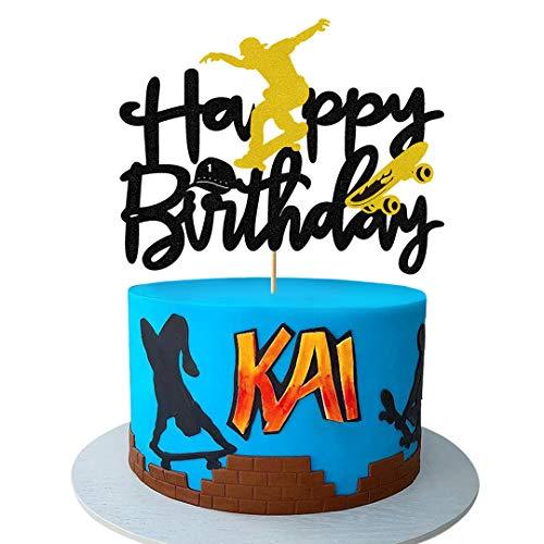 Glorymoment Skateboard Happy Birthday Cake Topper, Skateboard Cake Topper for boy Girl Birthday, Happy Birthday Cake Topper for Skateboard Sport Theme Birthday Party Cake Decorations (6.7''x5.27'')