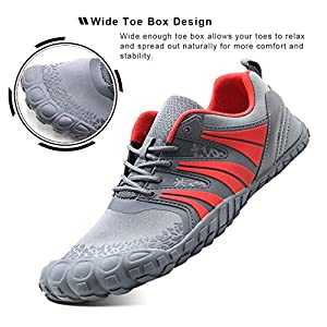 Oranginer Men's Minimalist Shoes Lightweight Comfortable Slip-on Cross Trainer Men Gray/Red Size 8