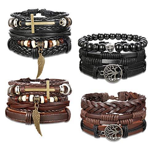 YADOCA Armband Für Herren Frauen Unendlichkeitszeichen Anker Lebensbaum Bead Geflochtenes Leder Armband Set