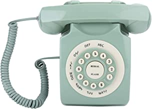 $49 » 070 Corded Telephone, Retro Style Vintage Antique European Vintag Landline Telephone Green High Definition Call Large Clea...