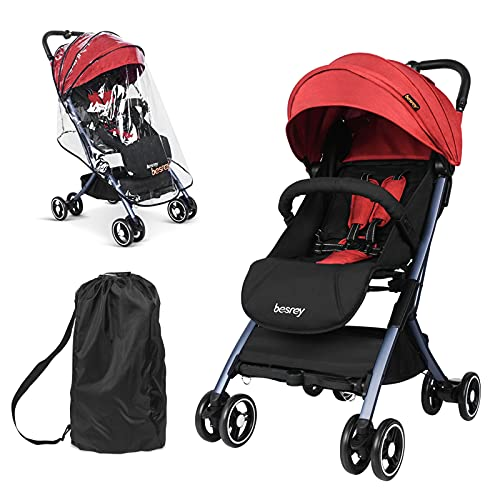 besrey Baby Lightweight Stroller Buggy Compact Airplane Stroller Travel Buggy Pushchair with Reclinable Backseat Easy Fold for 0-36 Months - RED…