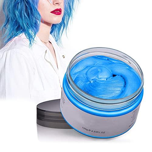 CColor Cabello Cera Tinte Instantáneo para Cabello Lodo Cabello Desechable Crema para Peinado Natural Modelado Temporal Pomada Arcilla Azul