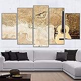 UYEDSR 5 Piezas impresión Lienzo Grandes murales Instrumento Musical de Guitarra Modern Artwork decoración para decoración del