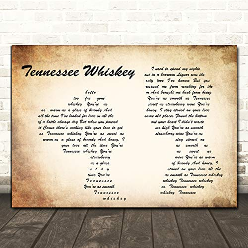 Tennessee Whiskey Man Lady Paar Song Lyrische Gift Present Poster Print Small A5