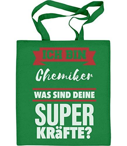 Shirtgeil Geschenke für Chemiker - CHEMIKER Was sind deine Superkräfte? Jutebeutel Baumwolltasche One Size Grün