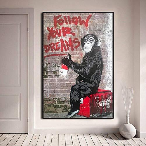 LELME Banksy Monkey Leinwand Malerei Poster Drucke Wandkunst Straße Graffiti Bild Wohnzimmer Home Decor Wandbild 70X90cm Rahmenlos
