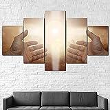 HDASJK Cuadros Modernos 5 Piezas Impresión De Imagen Artística Manos De Jesús Orando A Cristo Lienzo Decorativo para Salón O Dormitorio 5 Piezas 150X80Cm