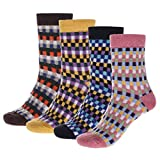 IYOU Calcetines de lana vintage para mujer, color azul, acogedor, de lana, étnico, para invierno, al aire libre, senderismo, para mujeres y hombres (3 pares)