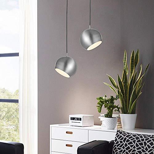 s.LUCE Ball Pendelleuchte 20cm mit verstellbarem drehbarem Kopf für gerichtetes Licht zum Lesen oder indirektes Licht im Schlafzimmer Nachttisch (Alu)