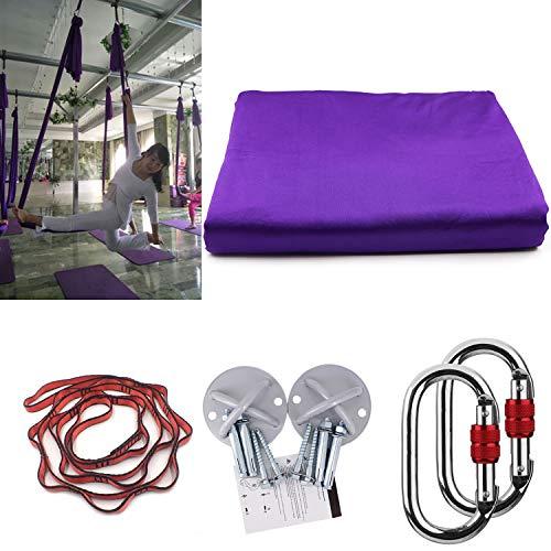 E-Betar Yoga amaca Yoga Silks Pilates Hammock oscillazioni con 500 kg carico Aerial Yoga anti-gravità Yoga Strap Yoga Aerial Silks, viola scuro, 5 x 2.8m
