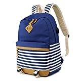 Sunborls Canvas Student Backpack for Teens Bookbag Unisex College Striped Back Bag with USB Charging Port 2 in 1 with Pencil bag (dark blue)