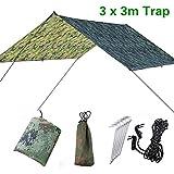 Doofang Camping Bâche Anti-Pluie Rain Tarp Toile de Tente Imperméable Abri de Randonnée Pliable Portable, Compact Léger Abri Étanche pour Randonnée Backpacking Picnic Camping