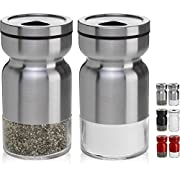 CHEFVANTAGE Salt and Pepper Shakers Set with Adjustable Pour Holes, Stainless Steel