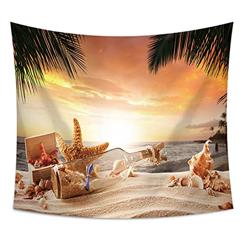 NHhuai Tapiz,para Colgar en la Pared,Hecho a Mano,en algodón Puro, Tapiz de Playa de mar de Coco