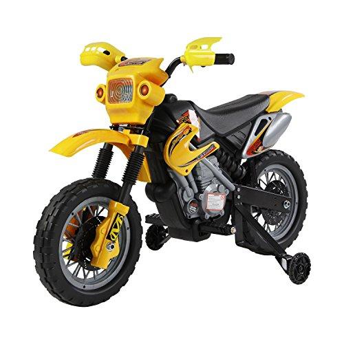 Outsunny - Motocicletta Moto Macchina Elettronica per Bambini a Batteria Ricaricabile 102 x 53 x 66cm Giallo
