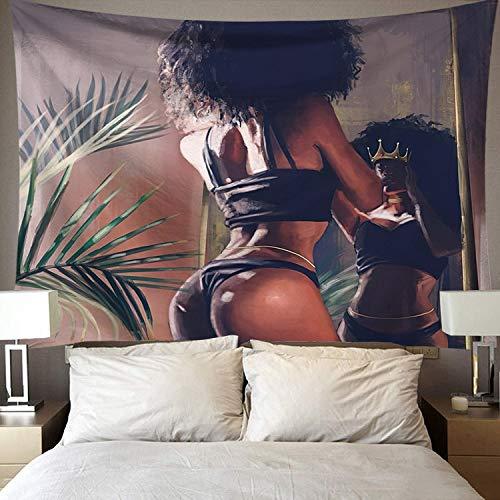Tapiz de arte negro tapiz de pared hermosa mujer africana negra América con corona de reina tapiz de tela de fondo A12 130x150cm