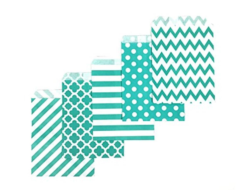 80 Counts Medium Aqua Biodegradable, Food Safe Ink & Paper, Assorted 5 Designs Cookie Bag, Eco-friendly Favor Bag, Treat Bag for Party (Medium, Aqua)