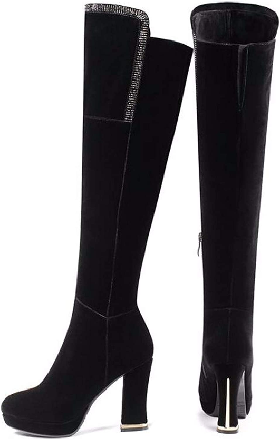 SFSYDDY Popular shoes Over Knee Boots with High 9Cm Fashion Wild Thick Heels Boots Waterproof Tables Knight Boots.