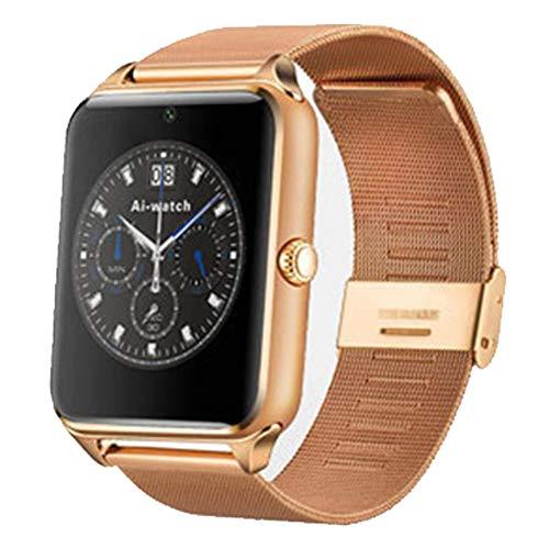 Wsaman Fitness Armband Farbbildschirm, Bluetooth Smartwatch Sportuhr Aktivitätstracker S mit 1.54 Zoll Voll Touchscreen Blutdruckmessung Pulsuhren Wasserdicht mit Schrittzähler für Android,Gold