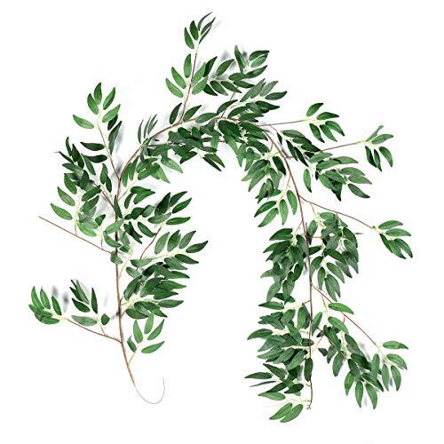 iFLOVE 5.2-5.5 ft Greenery Willow Garland- Garland Greenery Vine- Premium Fake Vines for Room Decor (Willow)