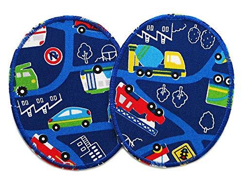 Set 2 Knieflicken Auto, 8 x 10 cm, Bagger, Feuerwehr, Krankenwagen Flicken zum aufbügeln für Kinder