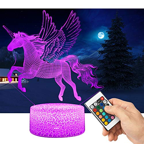 QiLiTd 3D Unicorn LED Gift Toy Décor Night Light, 16 Colours Change Smart Touch Remote Control USB & Battery Operated Dimmable Decoration Lamp for Baby Boy Girl Kids Women Men Birthday Present