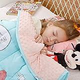 BUZIO Gewichtete Decke für Kinder, Ultra-gemütlich, gepunktet und Baumwoll-Seiten mit Cartoon-Mustern, schwere Decke, ideal zum Beruhigen und Schlafen, Gelbe Giraffe, 105 x 150cm, 3.2kg