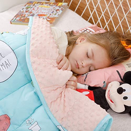 BUZIO Gewichtete Decke für Kinder, Ultra-gemütlich, gepunktet und Baumwoll-Seiten mit Cartoon-Mustern, schwere Decke, ideal zum Beruhigen und Schlafen, Gelbe Giraffe, 90 x 120cm, 2.3kg
