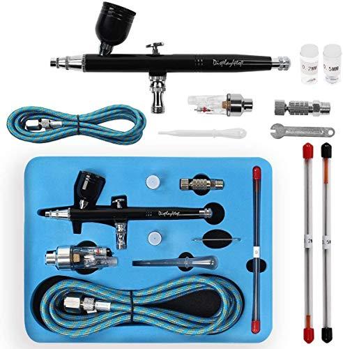 Display4top Kit Profesional de aerógrafo,juego de pistola de pintura de doble acción,con boquilla y aguja de 0,2 mm / 0,3 mm / 0,5 mm,para el maquillaje Modelo Nail Body Paint Art