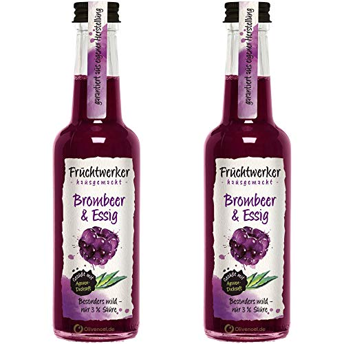 Fruchtwerker   Brombeer & Essig   Mit Saft aus echten Früchten   2er Pack   2x 250ml Glasflasche