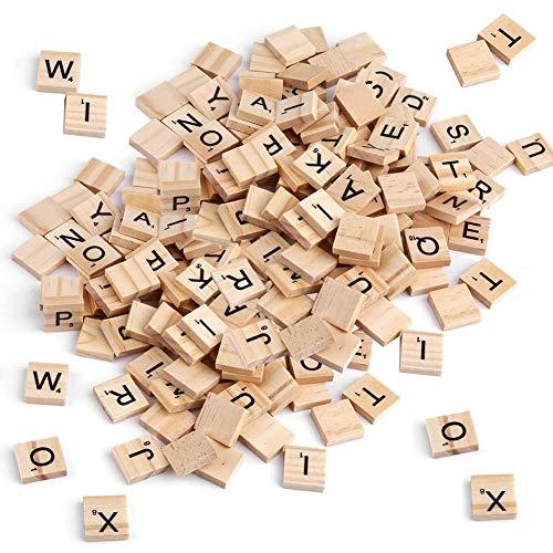 SUNSK Legno di Lettere Numeri Blocchi di lettere in legno ABC Alfabeto Artigianali in Legno per ciondolo Progetti Accessori di moda Decorazioni per la casa 200 pezzi