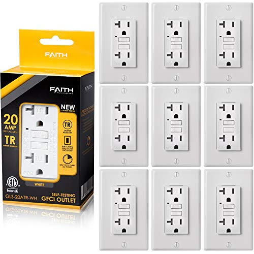 Faith [10-Pack] 20A GFCI Outlets Slim, Tamper-Resistant GFI Duplex Receptacles with LED Indicator, Self-Test Ground Fault Circuit Interrupter with Wall Plate, ETL Listed, White, 10 Piece