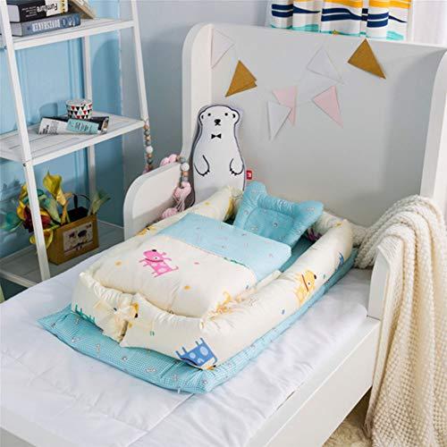 Wan-b Babybett-Bett-tragbares Krippenbett mit der Steppdecke entfernbar und waschbar Baby-Lokalisierungs-Bett-neugeborenes bionisches Bett,Color1,90x55x15cm