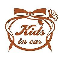 imoninn KIDS in car ステッカー 【シンプル版】 No.29 お花リボン (茶色)