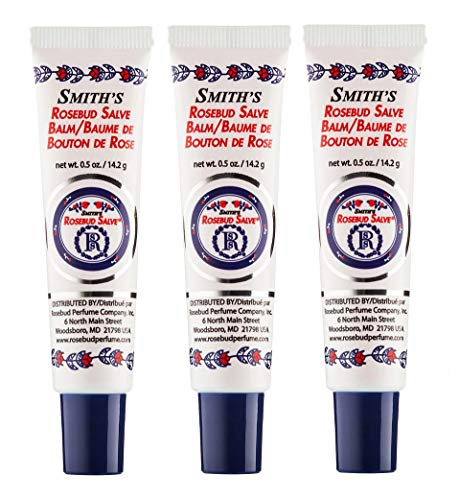 Rosebud Perfume Co. Original Rosebud Salve Tube Three Pack - Moisturizes and Protects Lips - Soothes Irritation and Dry Skin - 3 x 0.5 oz Tubes