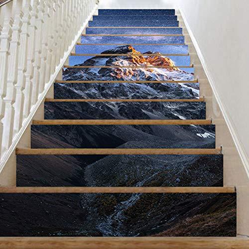 SQINAA Peel and Stick Escaleras Pegatinas Decorativas Autoadhesivas Arte Escalera Decoración Mural Calcomanía de Pared extraíble para Sala de Estar (7.08x39.3 Pulgadas),A