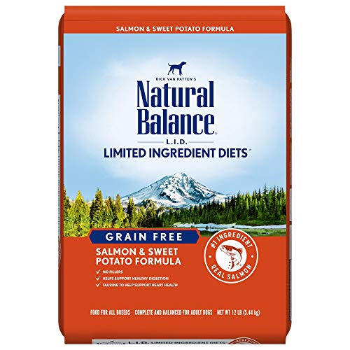 Natural Balance L.I.D. Limited Ingredient Diets Dry Dog Food, Salmon & Sweet Potato Formula, 12 Pounds, Grain Free