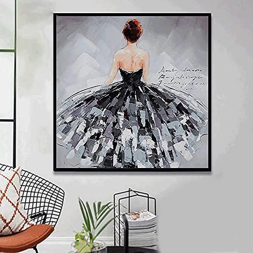 LZASMMVP Impresión de Pinturas al óleo, Carteles artísticos, Bailarina Negra, Arte de Pared, Lienzo, Cuadros de Pintura para Sala de Estar, Arte nórdico, decoración de Escritorio, 60x60cm sin Marco