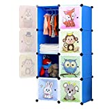 BRIAN & DANY Armario Modular Infantil de Puertas con Motivos de Animales Estanterías por Módulos Armario de Almacenaje, Azul, 75 x 47 x 147 cm