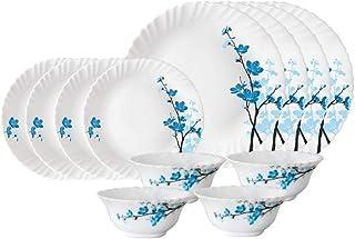 Larah by Borosil Mimosa Opalware Dinner Set, 12 Pieces, White