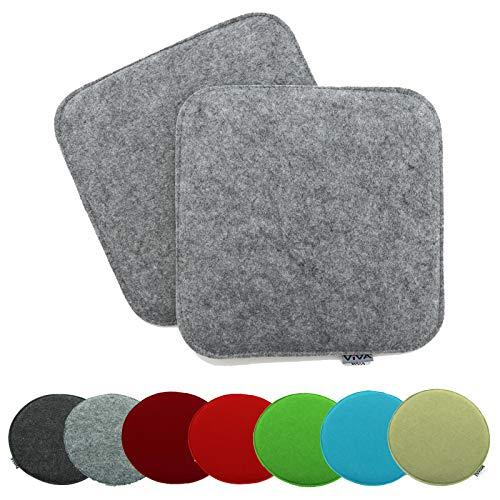 heimtexland ® 2er Pack Sitzkissen Filz 35x35 cm Grau Filzkissen Stuhlkissen Polster Auflage Kissen Typ631