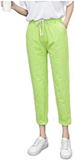 Women Casual Loose Linen Tenths Pants Washed Baggy Harem Pant