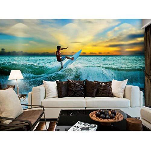 Hwhz Tapete der Wand 3d abziehbar 3D Fototapete Benutzerdefinierte Wand Wohnzimmer Meer Surfen Landschaft 3D Malerei Sofa Tv Hintergrund Vliestapete Für Wand 3D-280X200Cm