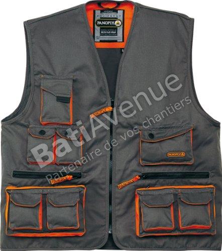 Deltaplus M2GILGRXG Mach2 Arbeitsweste Aus Polyester Baumwolle, Grau-Orange, Größe XL