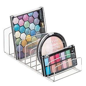 mDesign Bandeja de maquillaje con 9 compartimentos – Organizador de cosméticos vertical para lavabo y tocador – Organizador de maquillaje para ordenar los productos de belleza – transparente