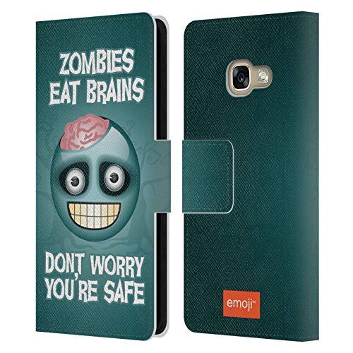 Head Case Designs Licenciado Oficialmente Emoji® Cerebros Zombie Parodias de Halloween Carcasa de Cuero Tipo Libro Compatible con Samsung Galaxy A3 (2017)