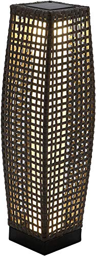 Grand Patio Outdoor Solar Powered Resin Wicker Floor Lamp, Outdoor Weather-Resistant Deck Light, for Garden or Porch (Black)
