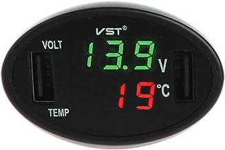 JENOR Termómetro digital LED para coche, voltímetro y cargador USB automático, monitor de temperatura, medidor de temperatura