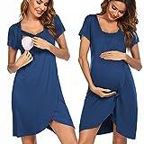 Pinspark Stillnachthemd Geburtskleid Krankenhaus Umstands Nachthemden Still Nachthemd Kurzarm (Blau Grün, XL)